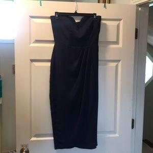Navy strapless midi dress